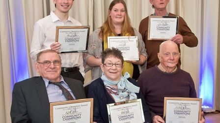 Award winners, (from left) Keith Price, Alex Crowther, Babs Tulip, Sara Slee, Charles McCann and Les