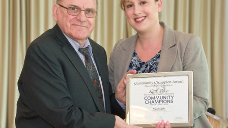 Keith Price presented with his award by Cllr Sarah Codling who was representing Richard Nightingale.