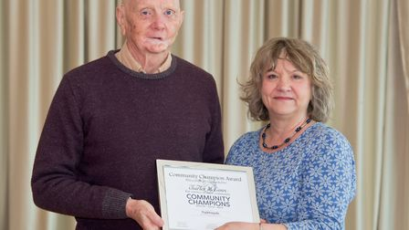 Charles McCann presented with his award by Doreen Smith CEO of V.A.N.S.