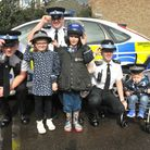 Weston police cadets with Oliver, Ryan and mum Rebecka and Emily at the Big Worle Hub open day. Pic