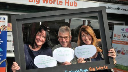 Ellie Talbot, Keith Bush and Victoria Tucker at the Big Worle Hub open day. Picture: Jeremy Long