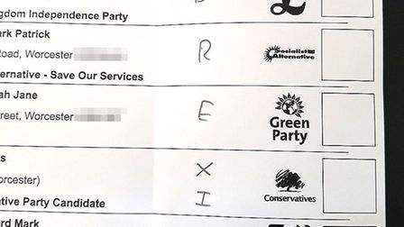 PIXELATED BY PA PICTURE DESKHandout photo taken with permission from @Jord16 of a spoiled ballot p