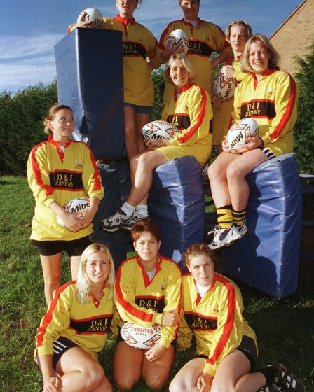 LadiesHornets1 ; Hornets Ladies Rugby Team looking for new recruits.28-7-00