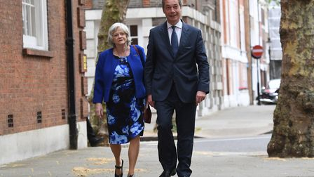 Anne Widdecombe, now of the Brexit Party, with Nigel Farage. Stefan Rousseau/PA Wire