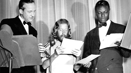 """LOS ANGELES - 1948: Entertainer and pianist Nat """"King"""" Cole poses for a portrait with #1 hit """"Natur"""
