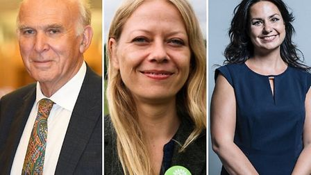 Lib Dem leader Vince Cable, Green party co-leader Sian Berry, and Change UK leader Heidi Allen. Phot