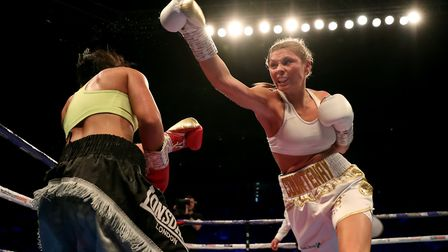 Shannon Courtenay (right) in action against Roz Mari Silyanova in their bantamweight contest at the