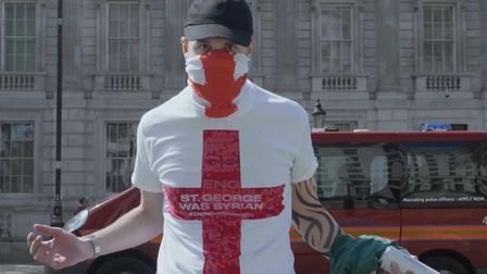 Far-right pranked into wearing pro-diversity t-shirts for St George's Day. Photograph: Tell MAMA.