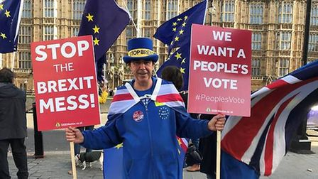 Steve Bray is protesting against Brexit every day outside Parliament (Photograph: PA)