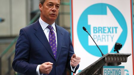 Nigel Farage speaks at the launch of the Brexit Party. (Photo by Matthew Lewis/Getty Images)