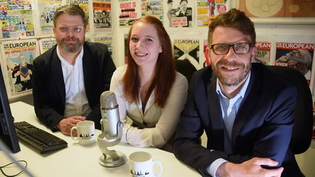 The New European podcast team, Steve Anglesey, left, Geraldine Scott, and Richard Porritt. Picture: