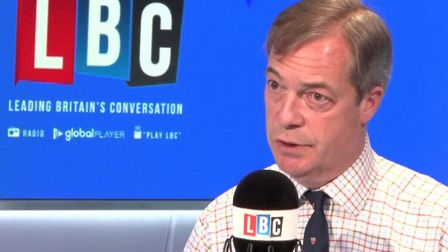 Nigel Farage answers questions about the Brexit Party funding on LBC Radio. Photograph: LBC/Global.