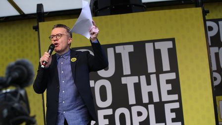 Deputy Leader of the Labour Party Tom Watson addresses the People's Vote March in London. Photograph