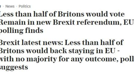 The two Telegraph headlines reporting an 8% poll lead for remain. Picture: Telegraph