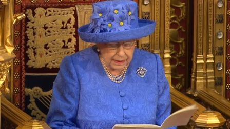 Queen Elizabeth II reading the Queen's Speech in the House of Lords at the Palace of Westminster in