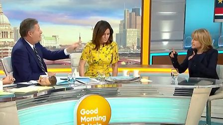 Rachel Johnson and Piers Morgan clash over a People's Vote. Photograph: ITV/Good Morning Britain.