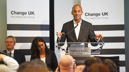 Chuka Umunna speaks during a Change UK rally at Church House in Westminster, London. PRESS ASSOCIATI