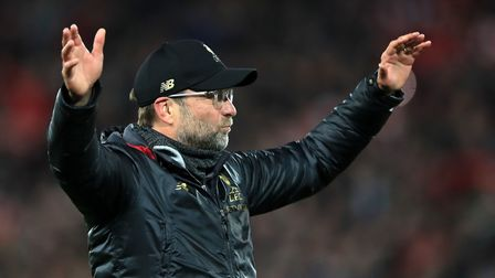 Liverpool manager Jurgen Klopp celebrates, unaware he'd be used to score political points the next d