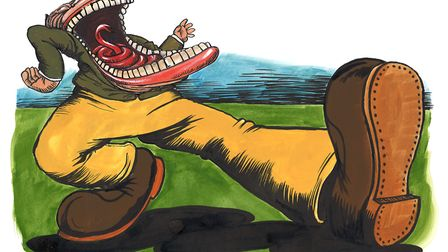MICHAEL WHITE on why Nigel Farage is all mouth and yellow trousers. Picture: Martin Rowson