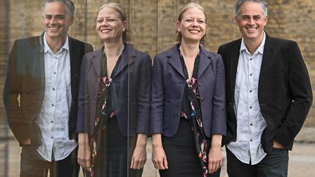 Green Party leaders, Sian Berry and Jonathan Bartley outside their party's headquarters in south eas