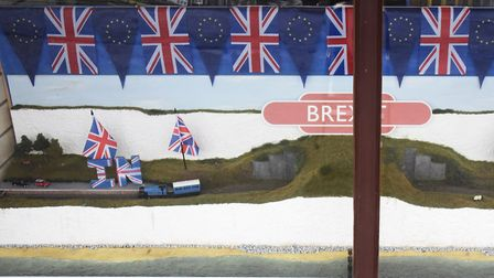 The Brexit-themed window display at the Great Eastern Model Railways shop. Picture: DENISE BRADLEY