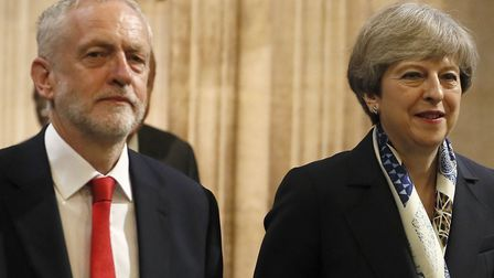 Theresa May and Jeremy Corbyn pictured last year at the state opening of Parliament. Picture: Kirsty