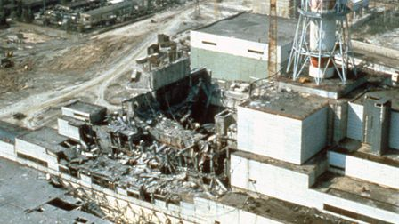 CHERNOBYL, UKRAINE, USSR - MAY 1986: Chernobyl nuclear power plant a few weeks after the disaster. C