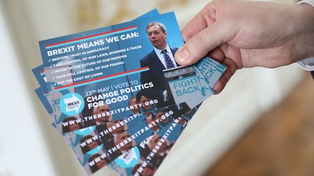 Propaganda from the Brexit Party. Photograph: Isabel Infantes/PA Wire