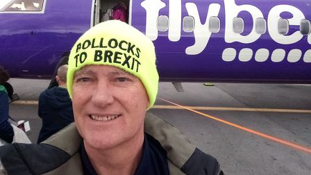 A man was told to take off his 'bollocks to Brexit' hat before he could take a seat on a FlyBe fligh