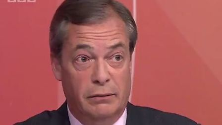 Nigel Farage was stumped by a simple question about WTO rules on Question Time. Picture: BBC