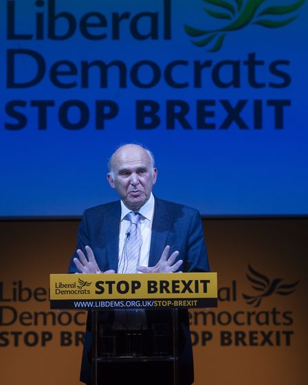 Vince Cable announces the Liberal Democrat manifesto for the European elections. Photograph: David M