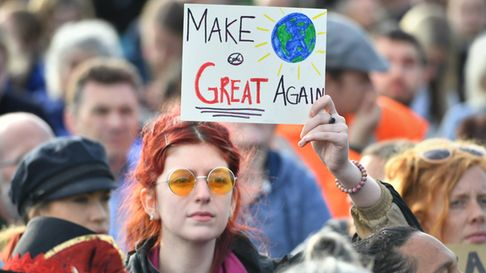 MAKE THE WORLD GREAT AGAIN: Climate change protesters in London