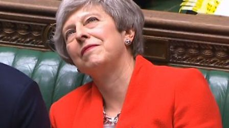Theresa May is asked to resign by Peter Bone. Photograph: Parliament TV.