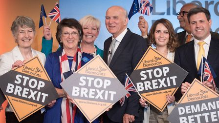 Sir Vince Cable during the launch of the Liberal Democrat campaign for European elections. Photograp