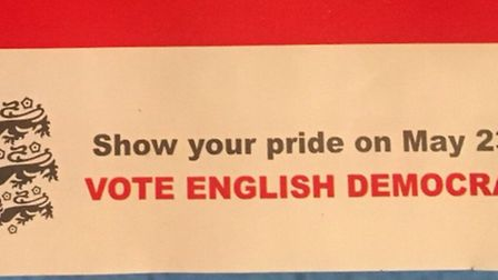 The 'three lions' device has appeared on leaflets for the rightwing fringe party the English Democra