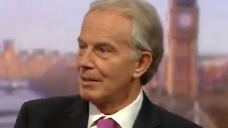 Former prime minister Tony Blair speaking on the BBC's Andrew Marr Show (Pic: BBC)