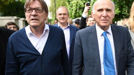 European Parliament's Brexit co-ordinator Guy Verhofstadt, joins Lib Dem leader Sir Vince Cable in L