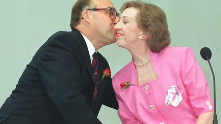 John Smith embraces his deputy, Margaret Beckett, after his sweeping victory in the Labour leadershi