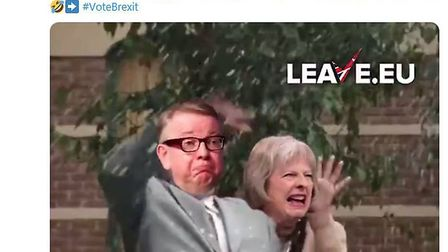 Leave.EU have tweeted a video celebrating throwing drinks over politicians. Picture: Twitter/Leave.E