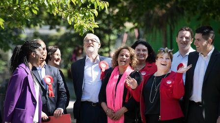 Labour leader Jeremy Corbyn and Emily Thornberry on the European elections campaign trail in Lambeth