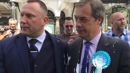 Nigel Farage after he was doused in milkshake during a campaign walkabout in Newcastle. (Tom Wilkinson/PA Wire)