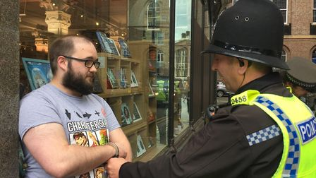 Paul Crowther, 32, from Throckley speaks to police after Nigel Farage was hit with a milkshake in Ne