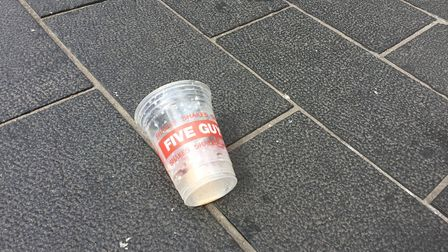 The empty milkshake cup from Five Guys which is believed to have been emptied on Nigel Farage. (Tom