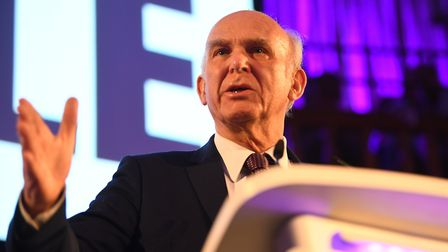 Sir Vince Cable speaks at the People's Vote Rally. Photograph: Victoria Jones/PA.