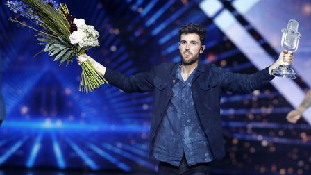 Duncan Laurence of the Netherlands celebrates after winning the 2019 Eurovision Song Contest. (AP Ph