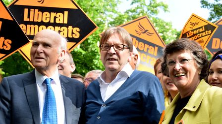 Vince Cable MP, Guy Verhofstadt and Lib Dem MEP Catherine Bearder with Lib Dem European election can