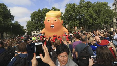 The 'Trump blimp' joins the anti-Trump protests in London. Picture: Amer Ghazzal/Barcroft Images/Get