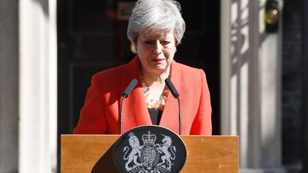 Tears as Theresa May announces she is resigning as prime minister. (Photo by Leon Neal/Getty Images