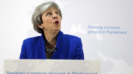 Prime Minister Theresa May making a speech in central London on her latest Brexit plans. (Kirsty Wig