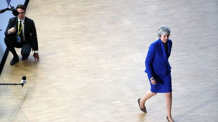 Britain's Prime minister Theresa May arrives ahead of a European Council meeting. Picture: KENZO TRI